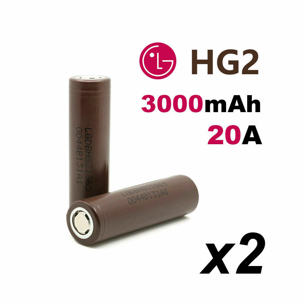 LG HG2 20A 3000mAh 18650 Lithium Ion Battery (packs of 2)