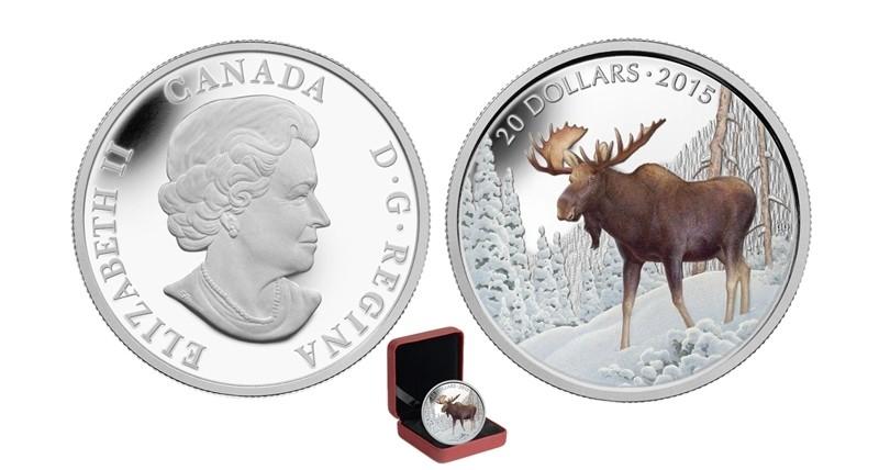 Канада. Елизавета II. 2015. 20 долларов. Величественный лось. 0.9999 Серебро 1.110 Oz., ASW., 31.390 g., PROOF - Colored. Mintage: 7,500