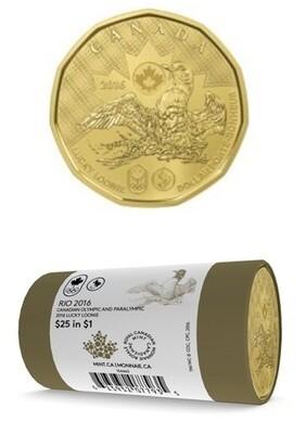 Канада. Елизавета II. 2016. 1 доллар - ролл из 25 монет. Везучий Селезень. Летние Олимпийские Игры в Рио. Ni-Cu. KM#. UNC. (СПЕЦИАЛЬНАЯ УПАКОВКА).