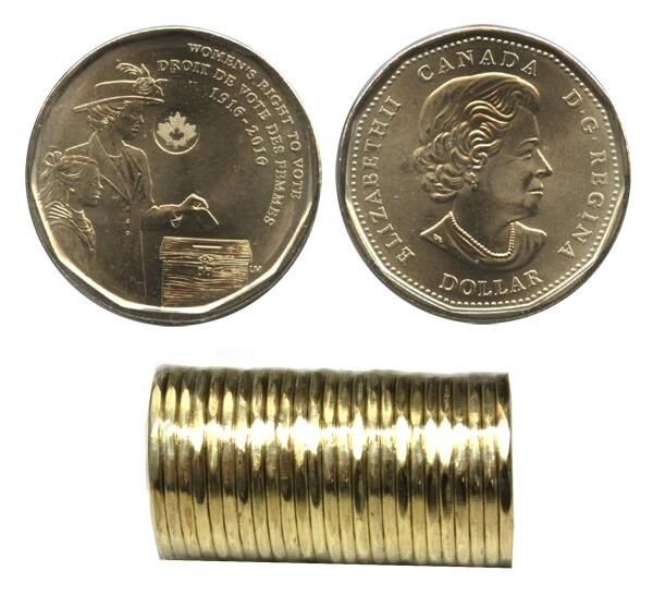 Канада. Елизавета II. 2016. 1 доллар - ролл из 25 монет. 1916-2016. 100 лет права голосовать женщинам. Ni-Cu. KM#. UNC