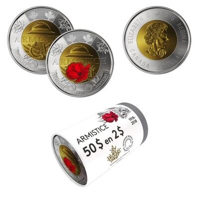 Канада. Елизавета II. 2018. 2 доллара - ролл из 25 монет. 1918-2018. 100 лет перемирия. Мак (микс). Ni, Cu, Al. 7.30 g. UNC. (СПЕЦИАЛЬНАЯ УПАКОВКА).