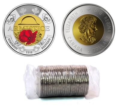Канада. Елизавета II. 2018. 2 доллара - ролл из 25 монет. 1918-2018. 100 лет перемирия. Мак цветной. Ni, Cu, Al. 7.30 g. UNC.