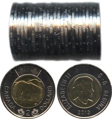 Канада. Елизавета II. 2013. 2 доллара - ролл из 25 монет. Белый медведь. Ni, Cu, Al. 7.30 g. UNC.