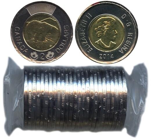 Канада. Елизавета II. 2014. 2 доллара - ролл из 25 монет. Белый медведь. Ni, Cu, Al. 7.30 g. UNC.