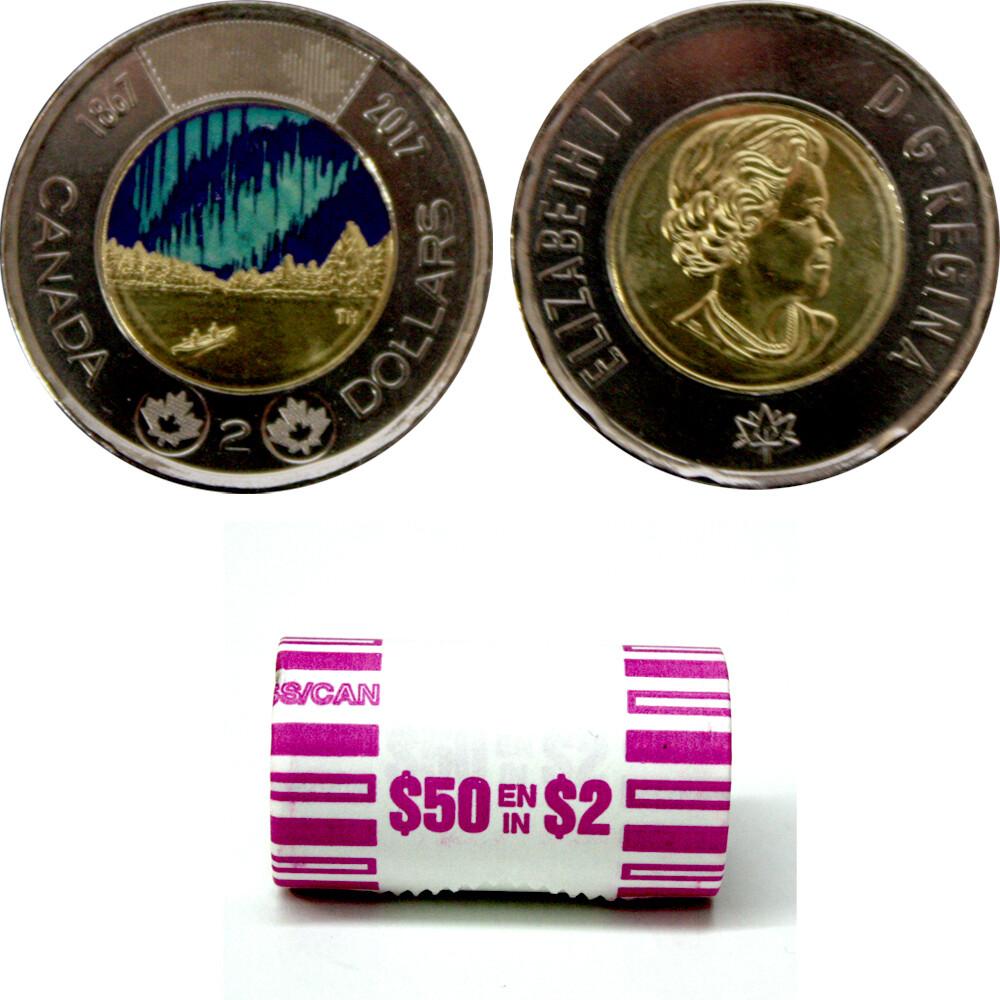 Канада. Елизавета II. 2017. 2 доллара - ролл из 25 монет. 150 лет конфедерации Канады. Северное сияние - танец духов. (Микс). Ni, Cu, Al. 7.30 g. UNC.