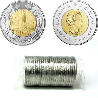 Канада. Елизавета II. 2017. 2 доллара - ролл из 25 монет. 100 лет битвы за Вими-Ридж. Ni, Cu, Al. 7.30 g. UNC.