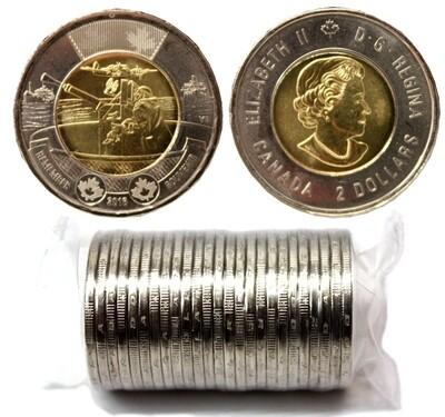 Канада. Елизавета II. 2016. 2 доллара - ролл из 25 монет. Битва за Атлантику. Ni, Cu, Al. 7.30 g. UNC.