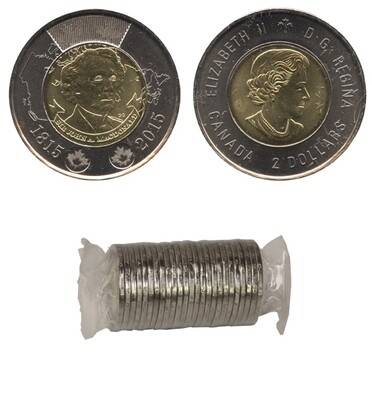 Канада. Елизавета II. 2015. 2 доллара - ролл из 25 монет. Сер Джон А. Макдональд. Ni, Cu, Al. 7.30 g. UNC.