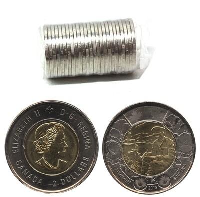 Канада. Елизавета II. 2015. 2 доллара - ролл из 25 монет. 100-летие стихотворению в полях Фландрии. Ni, Cu, Al. 7.30 g. UNC.