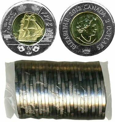 Канада. Елизавета II. 2012. 2 доллара - ролл из 25 монет. HMS Шеннон. Ni, Cu, Al. 7.30 g. UNC.