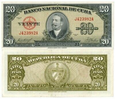 Куба. Бумажные деньги. 1949. 20 песо. Антонио Мацео. Тип: 1949. Серия/№: . Подпись: . Catalog #. PRESS (UNC)