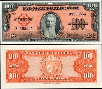 Куба. Бумажные деньги. 1959. 100 песо. Агуелера. Тип: 1959. Серия/№: . Подпись: . Catalog #. PRESS (UNC)