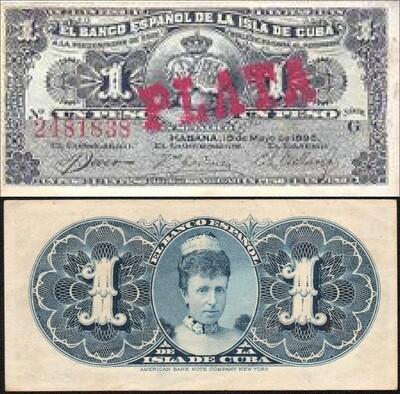 Куба. Бумажные деньги. 1897. 1 песо серебро * 100 штук. Banco Español de Cuba. Тип: 1897. Серия/№: . Подпись: . Catalog #. PRESS (UNC)