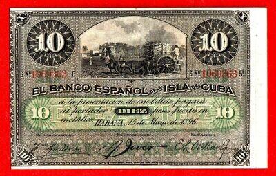 Куба. Бумажные деньги. 1896. 10 песо серебро * 100 штук. Banco Español de Cuba. Тип: 1896. (банковский вексель тёмный - 1896). Серия/№: . Подпись: . Catalog #. PRESS (UNC)