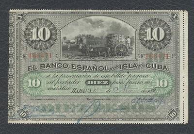 Куба. Бумажные деньги. 1896. 10 песо серебро * 100 штук. Banco Español de Cuba. Тип: 1896. (банковский вексель светлый - 1896). Серия/№: . Подпись: . Catalog #. PRESS (UNC)