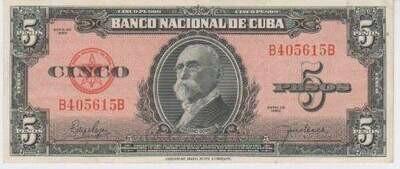 Куба. Бумажные деньги. 1950. 5 песо. Максимо Гомез. Тип: 1950. Серия/№: . Подпись: . Catalog #. PRESS (UNC)