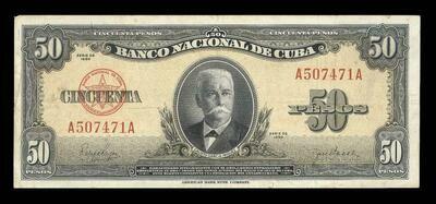 Куба. Бумажные деньги. 1950. 50 песо * 100 штук. Каликсто Гарсиа Инигуез. Тип: 1950. Серия/№: . Подпись: . Catalog #. PRESS (UNC)