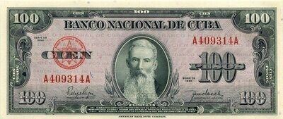 Куба. Бумажные деньги. 1950. 100 песо. Агуелера. Тип: 1950. Серия/№: . Подпись: . Catalog #. PRESS (UNC)