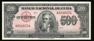 Куба. Бумажные деньги. 1950. 500 песо * 10 штук. Каликсто Гарсиа Инигуез. Тип: 1950. Серия/№: . Подпись: . Catalog #. PRESS (UNC)