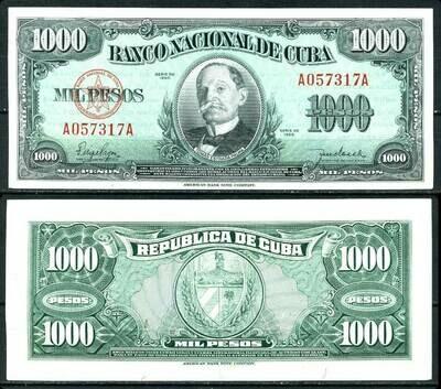 Куба. Бумажные деньги. 1950. 1000 песо. Томас Эстраде Палма. Тип: 1950. Серия/№: . Подпись: . Catalog #. PRESS (UNC)