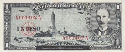 Куба. Бумажные деньги. 1956. 1 песо. Хосе Марти. Тип: 1956. Серия/№: . Подпись: . Catalog #. PRESS (UNC)