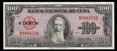 Куба. Бумажные деньги. 1954. 100 песо * 100 штук. Агуелера. Тип: 1954. Серия/№: . Подпись: . Catalog #. PRESS (UNC)