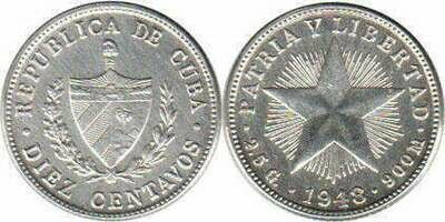 Cuba. 1948. 10 centavos - roll of 40 coins. Star. Type: 1915. 0.900 Silver. 0.0719 Oz ASW. 2.50 g. KM#A12. AU