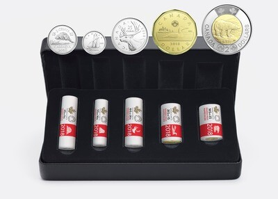 Канада. Елизавета II. 2018. Специальный набор монет из роллов от RCM. Серия: Монеты в роллах RCM. Ni, Fe, Cu. KM#. UNC