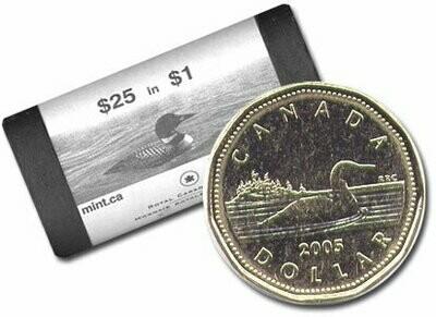 Канада. Елизавета II. 2005. 1 доллар - ролл из 25 монет. Селезень. Ni-Cu. KM#. UNC. (СПЕЦИАЛЬНАЯ УПАКОВКА от RCM).