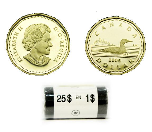 Канада. Елизавета II. 2005. 1 доллар - ролл из 25 монет. Селезень. Ni-Cu. KM#. UNC.