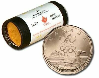 Канада. Елизавета II. 2004. 1 доллар - ролл из 25 монет. Селезень. Логотип Олимпийских игр. Ni-Cu. KM#. UNC. (СПЕЦИАЛЬНАЯ УПАКОВКА от RCM).