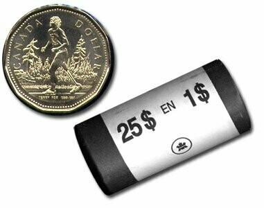 Канада. Елизавета II. 2005. 1 доллар - ролл из 25 монет. Терри Фокс. Ni-Cu. KM#. UNC.