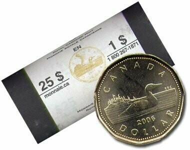 Канада. Елизавета II. 2006. 1 доллар - ролл из 25 монет. Серия: Елизавета II 1952-2002. 50 лет правления. Селезень. Ni-Cu. KM#. UNC. Note: без логотипа RCM