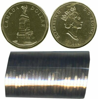 Канада. Елизавета II. 1994. 1 доллар - ролл из 25 монет. Память. Ni-Cu. KM#. UNC.