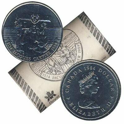 Канада. Елизавета II 1984. 1 доллар - ролл из 20 монет. 1534-1984. 350 лет экспедиции Жака Картье в заливе Гаспе. Никель 15.620 g., KM#141. UNC. (СПЕЦИАЛЬНАЯ УПАКОВКА от RCM).