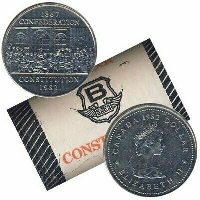 Канада. Елизавета II 1982. 1 доллар - ролл из 20 монет. 1867-1982. 125 лет Конституции. Отцы конфедерации. Никель 15.620 g., KM#134. UNC