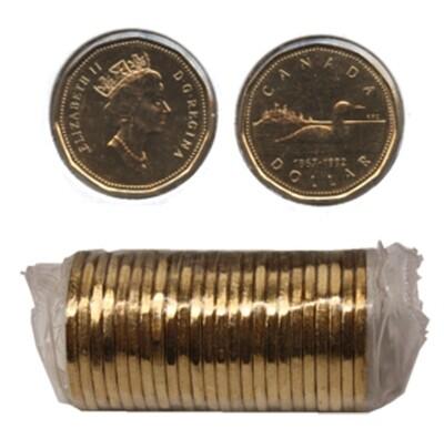 Канада. Елизавета II. 1992. 1 доллар - ролл из 25 монет. Селезень. Ni-Cu. KM#. UNC.
