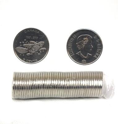 Канада. Елизавета II. 2017. 5 центов - ролл из 40 монет. Серия: 150 лет Конфедерации Канады. Бобр. Никель 3.95 g. UNC