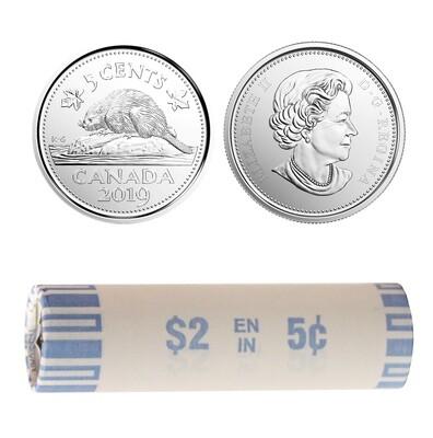 Канада. Елизавета II. 2019. 5 центов - ролл из 40 монет. Бобр. Логотип RCM. Никель 4.54 g. UNC