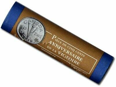 Канада. Елизавета II. 2005. 5 центов - ролл из 40 монет. Серия: 1945-2005. 60 лет победы во Второй мировой войне. Победа. Никель 3.95 g. UNC. Note: Специальный чекан.