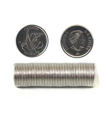 Канада. Елизавета II. 2017. 10 центов - ролл из 50 монет. Серия:1867-2017. 150 лет Конфедерации Канады. Никель 1.75 g. UNC