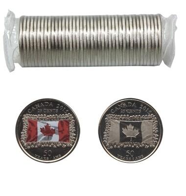 Канада. Елизавета II. 2015. 25 центов - ролл из 40 монет (MIX). 1965-2015. 50 лет флагу Канады. Fe-Ni 4.430 g. UNC