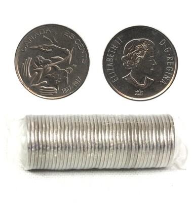 Канада. Елизавета II. 2017. 25 центов - ролл из 40 монет. Серия: 1867-2017. 150 лет Конфедерации Канады. Fe-Ni 4.430 g. UNC.