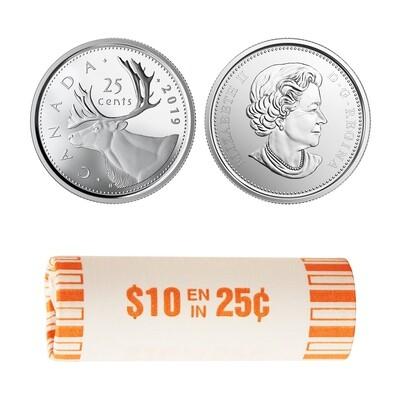 Канада. Елизавета II. 2017. 25 центов - ролл из 40 монет. Карибу. Логотип RCM. Fe-Ni 4.430 g. UNC.