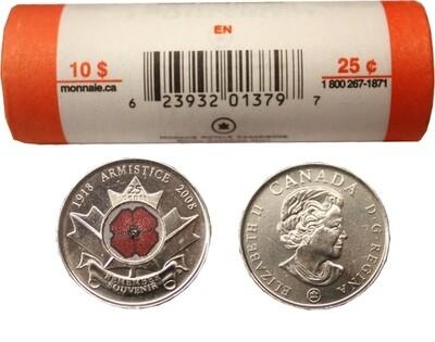 Канада. Елизавета II. 2008. 25 центов - ролл из 40 монет. Мак. Логотип RCM. Fe-Ni 4.430 g. Colored. UNC.