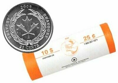 Канада. Елизавета II. 2006. 25 центов - ролл из 40 монет. Медаль за отвагу. Логотип RCM. Fe-Ni 4.430 g. UNC.