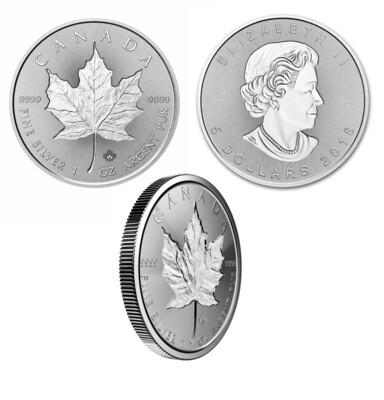Канада. Елизавета II. 2018. 5 долларов - ролл из 25 монет. Кленовый лист. INCUSE DESIGN. 0.9999 Серебро 1.0 Oz., ASW., 31.1 g., BU. UNC