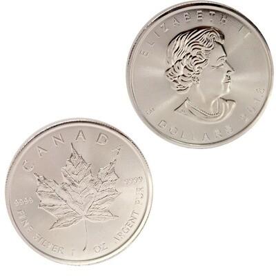 Канада. Елизавета II. 2018. 5 долларов - ролл из 25 монет. Кленовый лист. 0.9999 Серебро 1.0 Oz., ASW., 31.1 g., BU. UNC