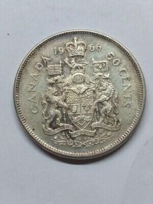 Канада. Елизавета II. 1966. 50 центов. 0.800 Серебро. 0.300 Oz., ASW., 11.6638 g. XF.