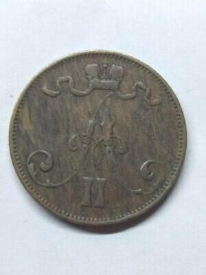 Российская Империя. Финляндия. Александр II. 1873. 5 пенни. Тип: 1863. Медь. 6.40 g. VF
